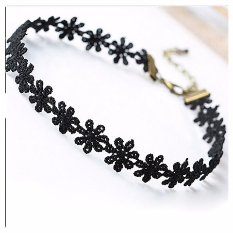 Weird Deck - Choker - Black Flower Chain Choker Necklace