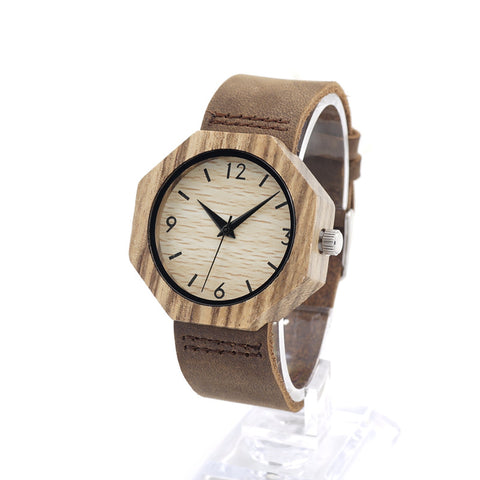 Luxury Design Japan Quartz Bamboo Wood Watches With Genuine Leather Band
