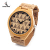 Triangle Tiles Design Bamboo Wooden Wristwatch With Genuine Cowhide Leather Band