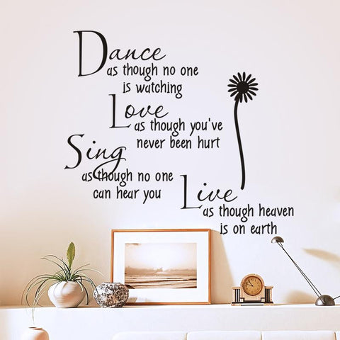 Weird Deck - Home Decor - Dance, Love, Sing, Live Quotes Removable PVC Wall Art Stickers