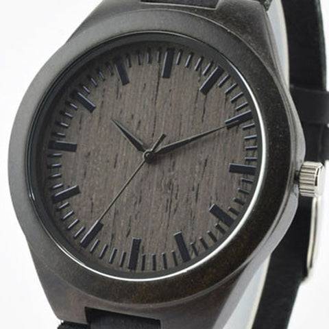 Luxury Black Wooden Watch With Leather Band