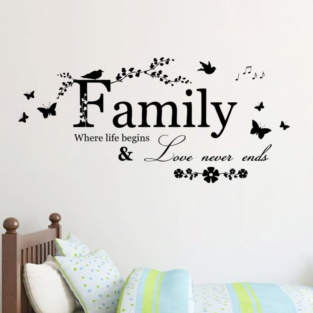 "Wall Decals Quotes for Living Room ""Family Love Never Ends"""