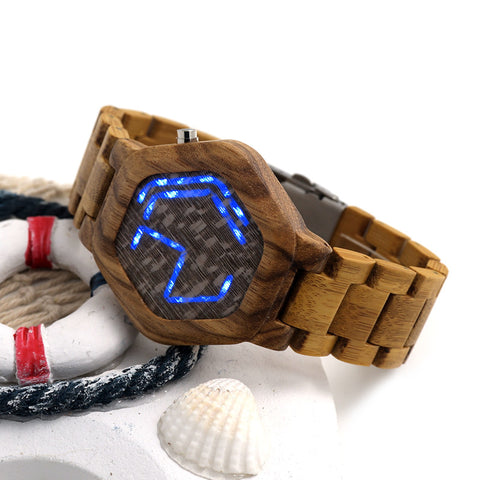 Cool Design Men's Wooden Night Vision LED Digital Watches Minimal Time Display