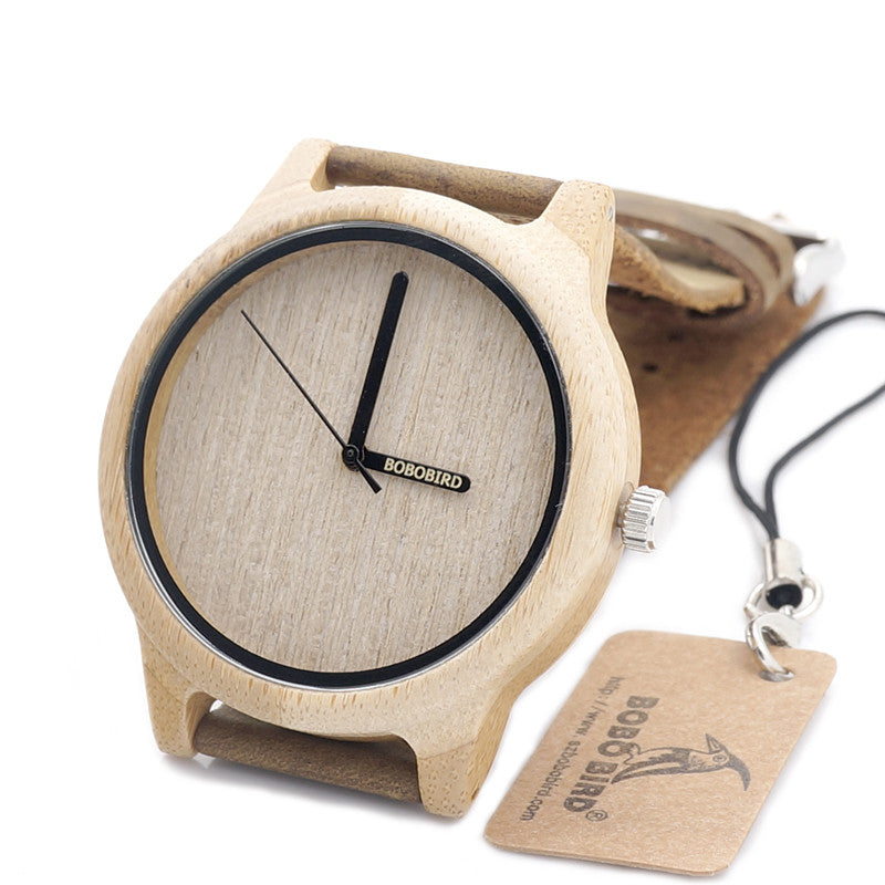 Bamboo Wood Quartz Miyota Japanese 2035 Movement Analog Watch With Leather Band