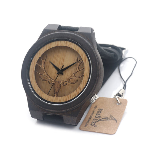 Antique Deer Head Japan Quartz Wooden Casual Watch With Genuine Cowhide Leather Band