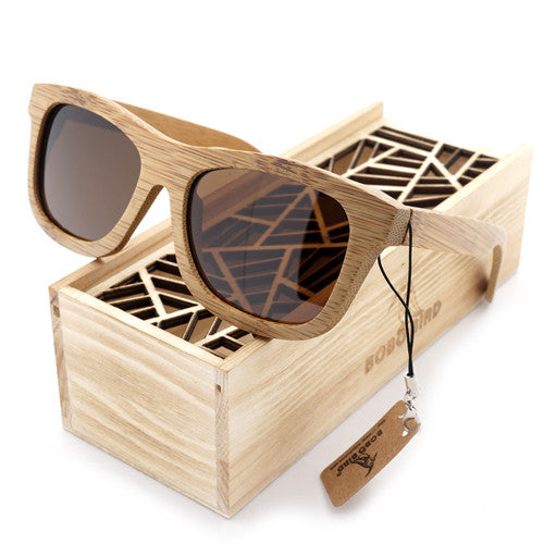 2016 Vintage Handmade Bamboo Wooden Polarized Coating Lenses Sunglasses in Wood Box