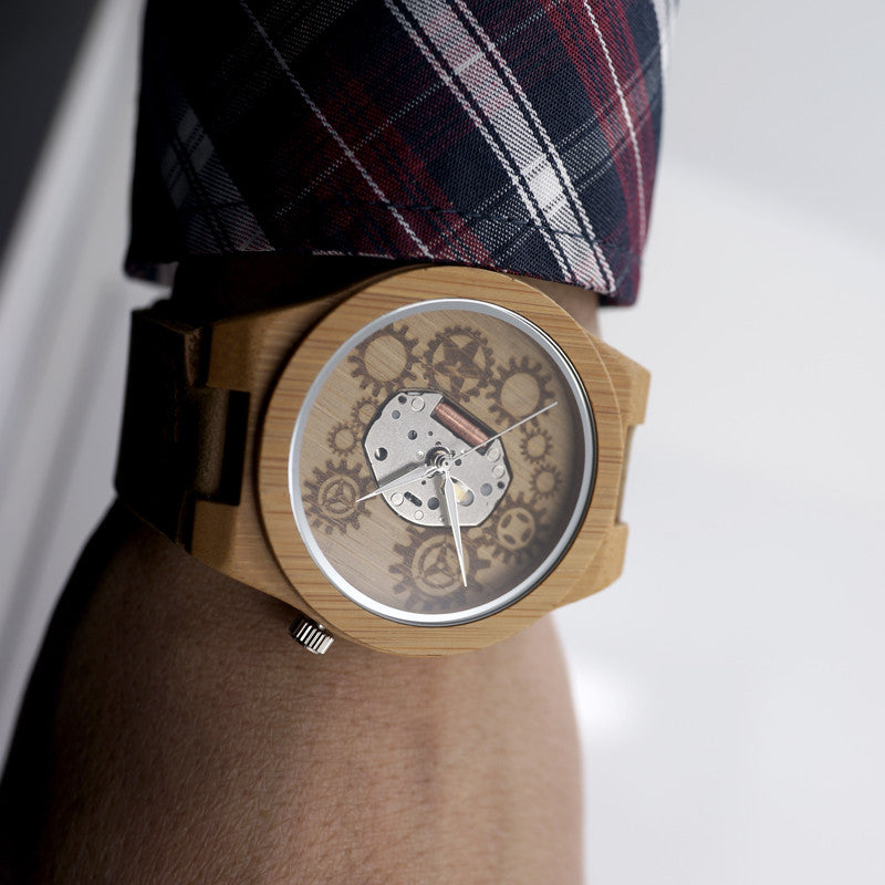 Exposed Movement Skeleton Watch Design Bamboo Wood Quartz Watches With White Real Leather Straps