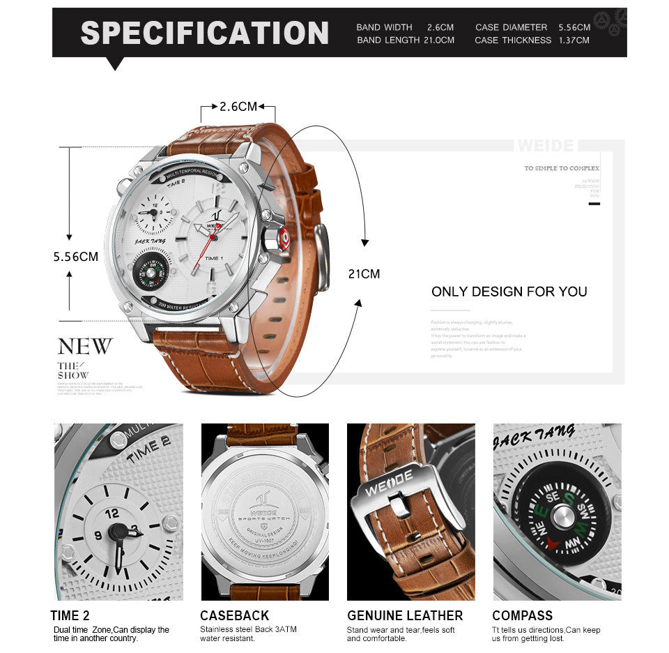 Luxury Fashion Casual Leather Band Compass Wristwatch