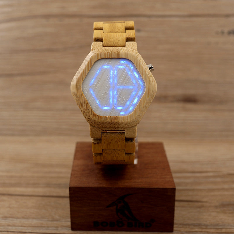 Cool Design Women's LED Digital Night Vision Wood Watch with Unique Time Display