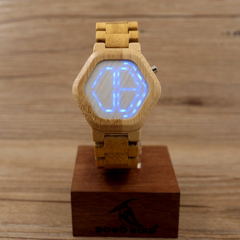 Weird Deck - Watches - Cool Design Women's LED Digital Night Vision Wood Watch with Unique Time Display