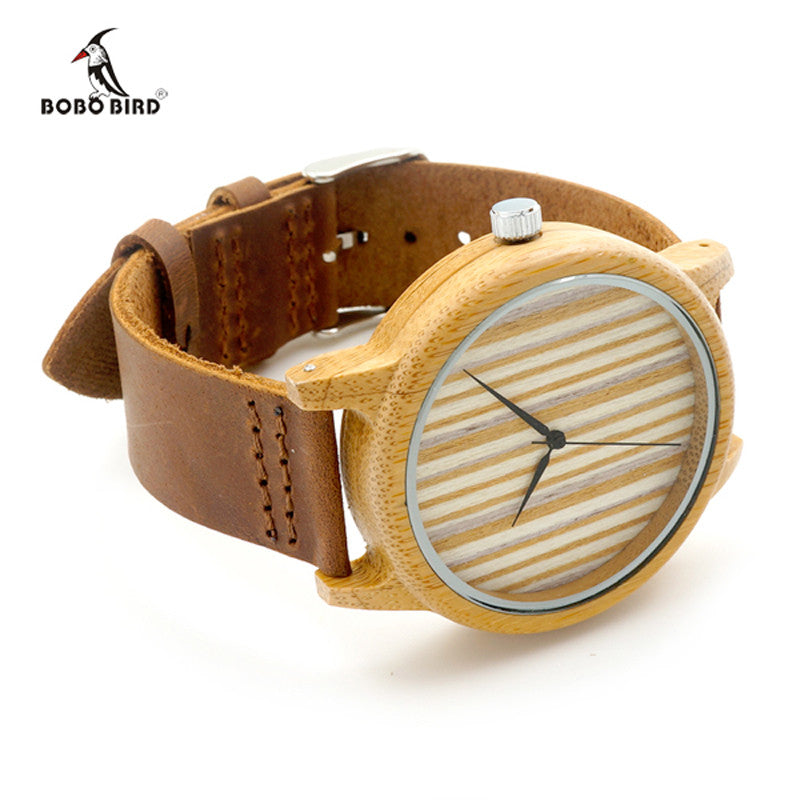 Quartz Bamboo Watch With Genuine Cowhide Leather Band