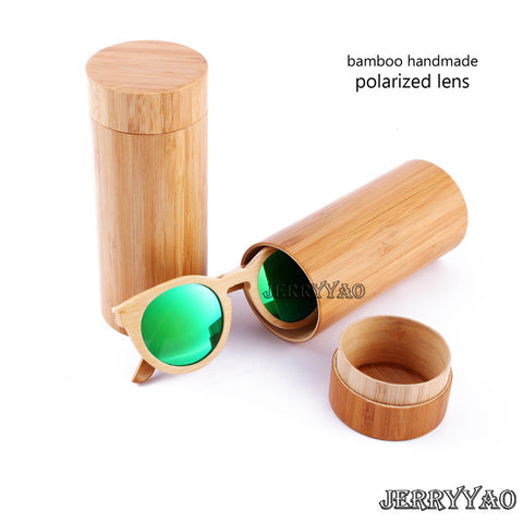 Round Design Bamboo Wooden Sunglasses With Bamboo Wooden Case