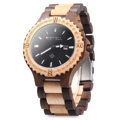 Weird Deck - Watches - 2016 New Men's Wooden Bangle Quartz Watch With Calendar Display