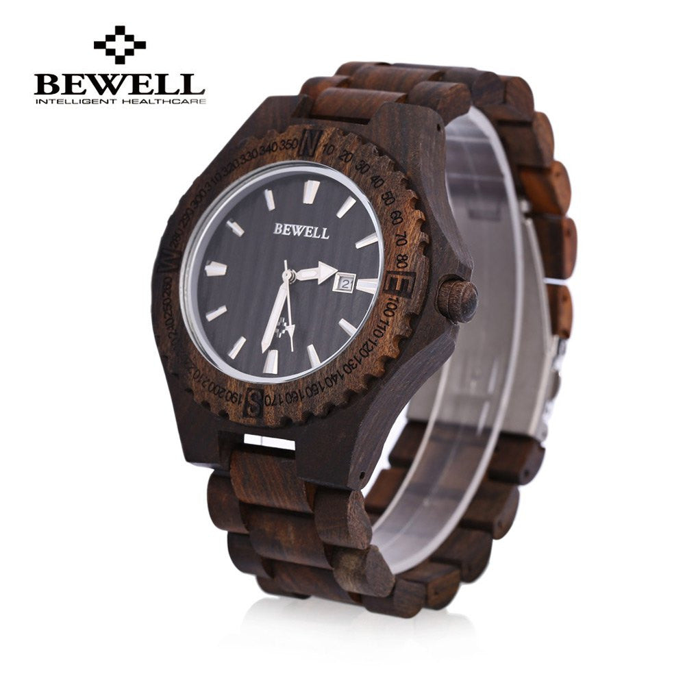 2016 New Men's Wooden Bangle Quartz Watch With Calendar Display
