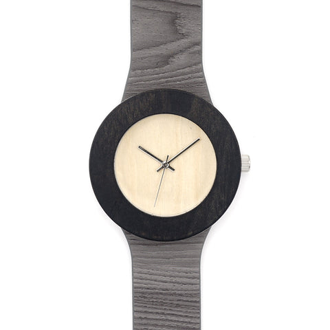 Designer's Ebony Wooden Quartz Wristwatches for Women With Soft Leather Band