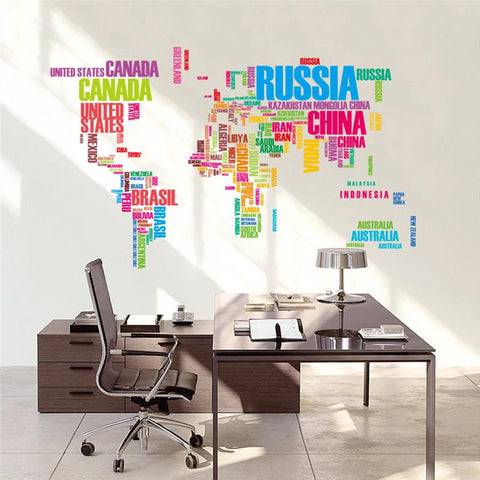 Colorful Letters World Map Wall Stickers for Living Room/Study Room/Bed Room/Office Interior Design