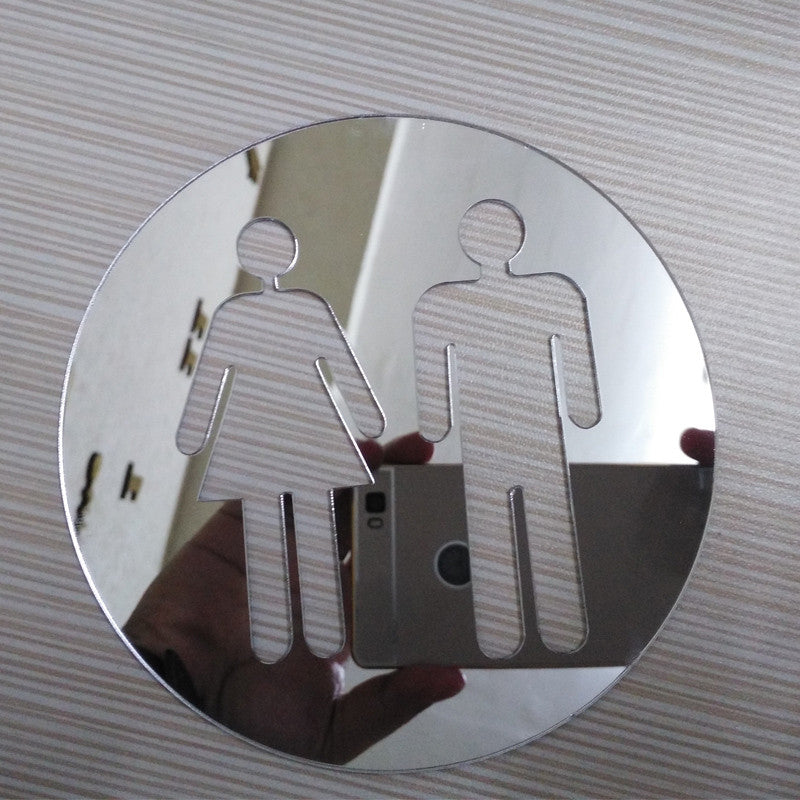 Luxury Home Decor Acrylic Toilet Sign Mirror Effect Wall Stickers Decals For Bathroom