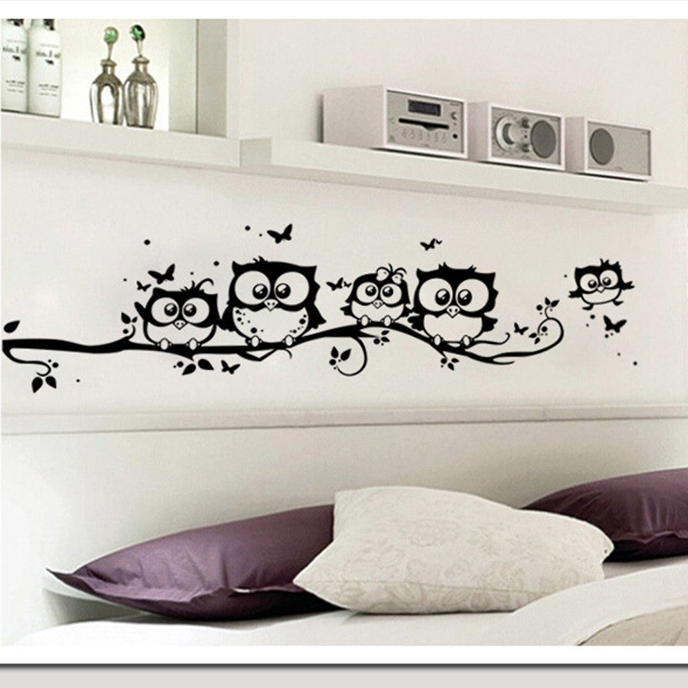 Cute Cartoon Owl Butterfly Wall Decals for Home Decor
