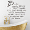 "Wall Decals Inspirational Quotes for Home Decor ""Life is short"""