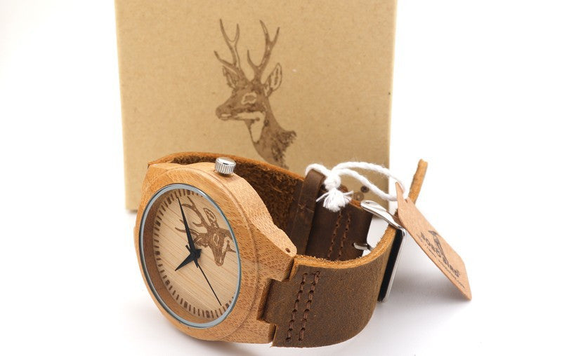 Animal Design Men's Bamboo Wooden Quartz Watch With Real Leather Strap