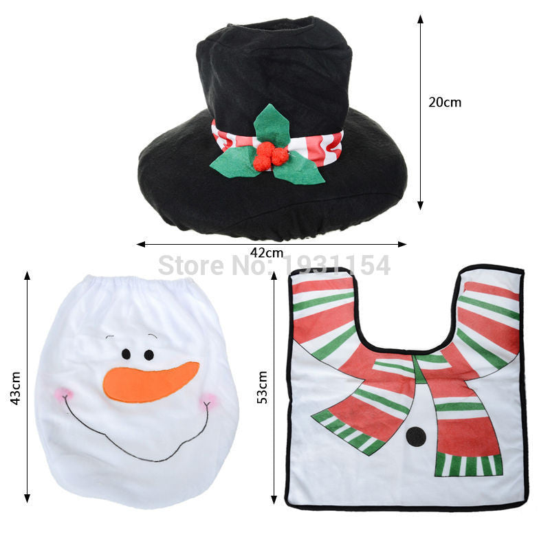 2016 Santa Claus Toilet Seat Cover and Rug Christmas Decoration for Home