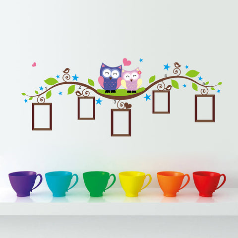 Home Decor Owls Flower Cartoon Photo Frame Wall Decals