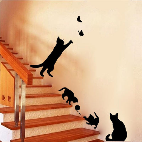 Cute Black Playful Cats Staircase Wall Decals for Home Decor