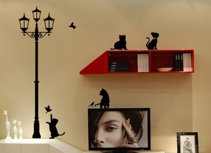 Home Decor Popular Ancient Black Lamp Cats and Birds Wall Decal Sticker For Living Room