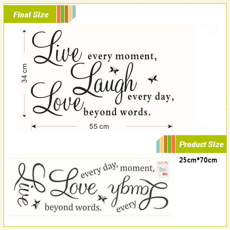 "Home Decor Wall Decals Inspirational Quotes ""Live Laugh Love"""