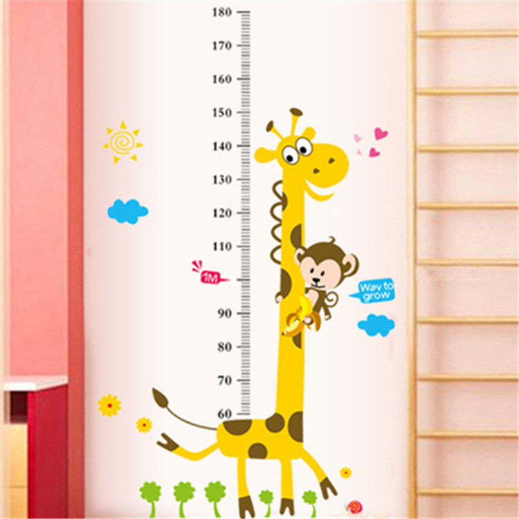 Home Decor Cartoon Giraffe Kids Height Chart Wall Decals for Kids Room