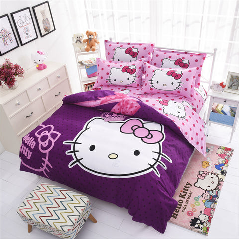Hello kitty 4pcs 16 Variants Beding Set Include Duvet Cover Bed Sheet  Pillowcase