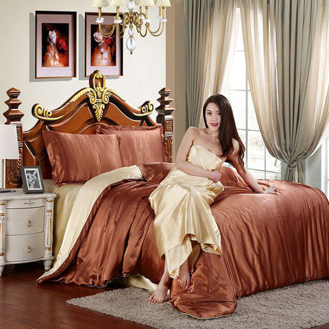 Luxurious 100% Pure Satin Silk Bedding Set