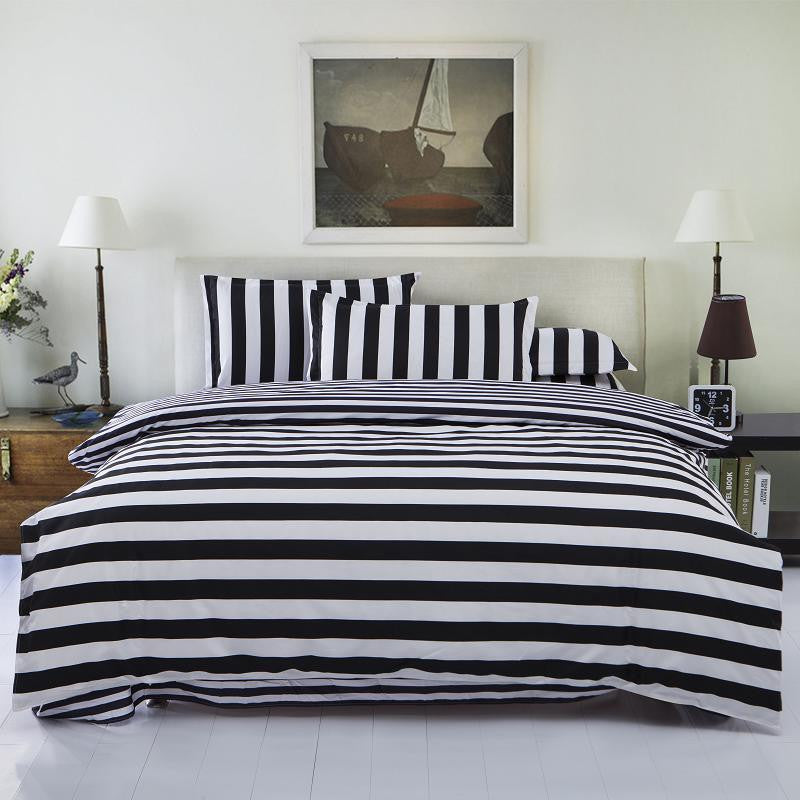 3 Variants Trendy Black and White Textile Bedding Set