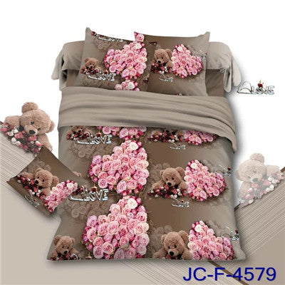 17 Variants 3D Printed Queen Size Bedding Sets