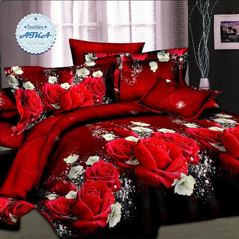 Luxurious3D Printed Romantic Rose 4pcs Bedding Sets