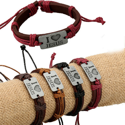 Genuine Leather I Love Jesus Bracelets