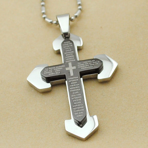 Weird Deck - Necklace - Christian Blue Scripture Crucifix Cross Necklace