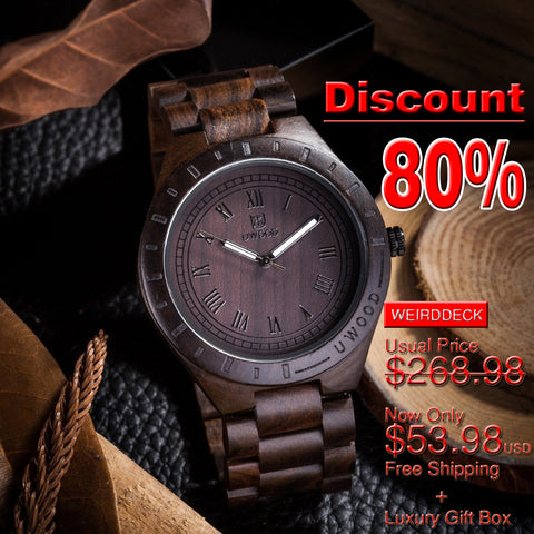 *80% Off!!! Top Designer's Super Luxury Men's Bamboo Wooden Wristwatch with Bamboo Gift Box.