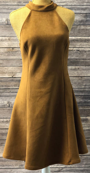 Faux Leather Brown Dress