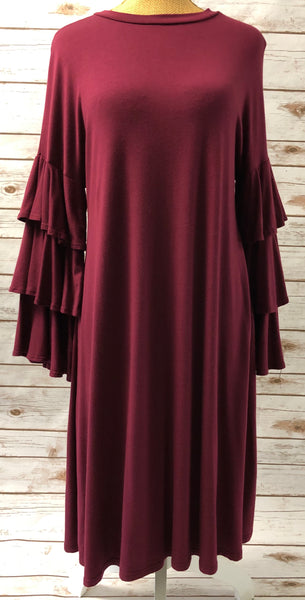 Ruffle Sleeved Maroon Dress
