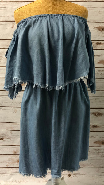 Off-the-Shoulder Blue Jean Dress
