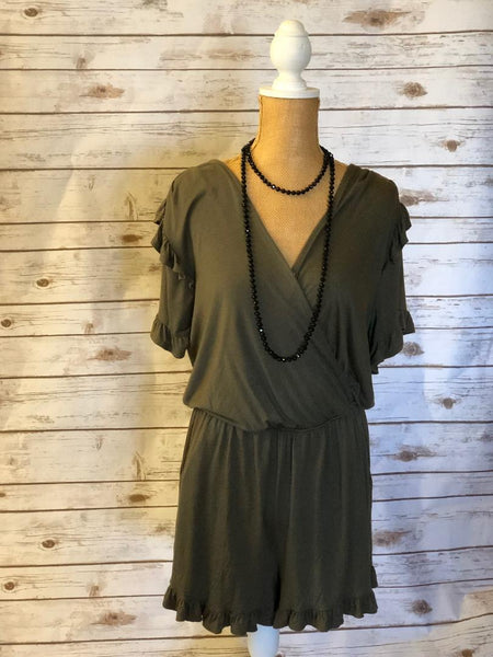 Dark Army Green Romper