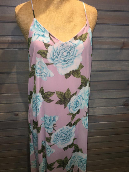Pink Dress with Blue Flowers