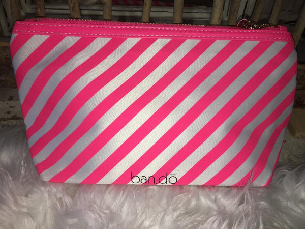 Pink& white Stripe Makeup Bag