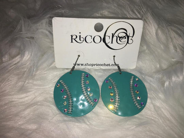 Baseball Turquoise Earrings with Rhinestones