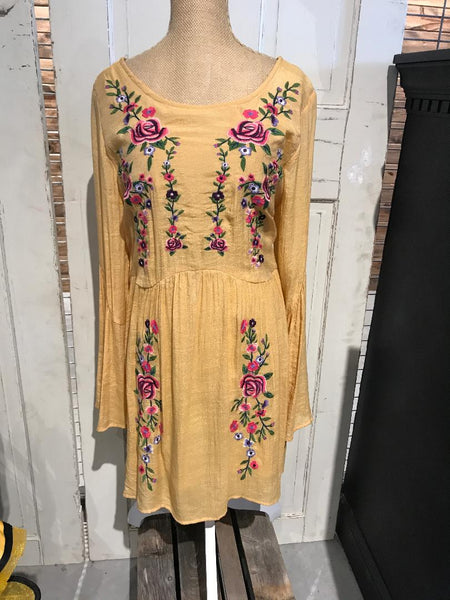 yellow long sleeve Dress with Flowers