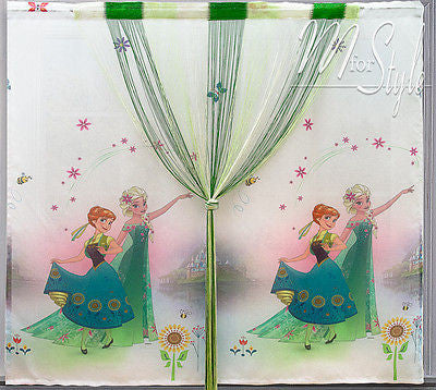 Frozen voile curtain green string panel kids childrens 59 for Childrens curtains uk