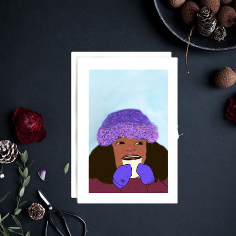 Baby it's cold outside | art greeting card | 6x4 | Christmas card