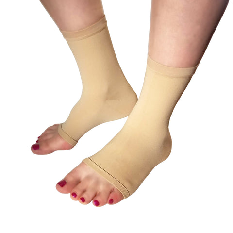 Injury Recovery Light Skin Tone Ankle Compression Sleeves