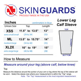 Pink Calf Leg Sleeves for Covering Bruises Size Chart